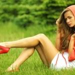 Woman on green grass — Stock Photo #9253071