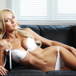 Sexy woman on sofa - Stock Photo