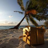 Golden gift on ocean beach — Stock Photo