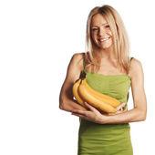 Woman and bananas — Stock Photo