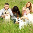 Friends and dog — Stock Photo #9494719