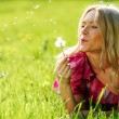 Girl blowing on dandelion — Stock Photo #9495655