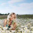Girl on the daisy flowers field - Stock Photo