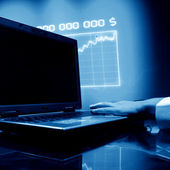 Laptop finance work — Stock Photo
