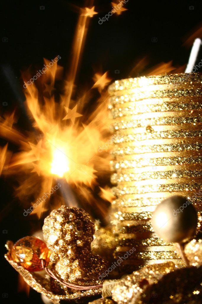 Golden stars holiday background macro close up — Stock Photo #9619175