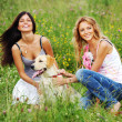 Girlfriends and dog — Stock Photo #9885883