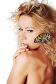 Woman and butterfly — Stock Photo
