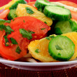 Close-up view of mixed fruits and vegetables salad. — Stock Photo