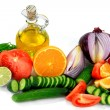 Ingredients, fruits, vegetables Dressings. — Stock Photo