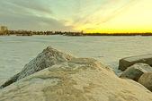 Wascana lake freezing — Stock Photo