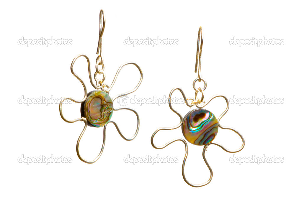 Beautiful unique handmade wire-work  silver nacreous earrings  Stock Photo #9853706