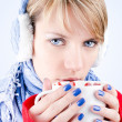Girl holds cup of hot chocolate. Image has clipping path. — Stock Photo #8168009