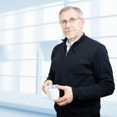 Senior businessman having a break — Stock Photo