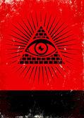 Pyramid och ögat — Stockvektor