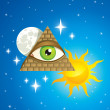 Pyramid with the eye — Stock Vector