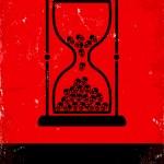 Hourglass with skulls — Stock Vector