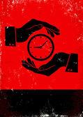 Hands holding clock — Stock Vector