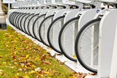 Row of Bicycle Wheels — Stock Photo