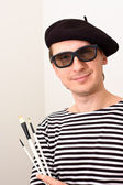 The Artist with Beret and Brushes — Stock Photo