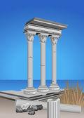 Antique Temple Ruins — Stock Vector