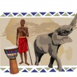 African Man and Elephant - Image vectorielle