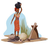 African Woman Carrying Pot — Stock Vector