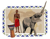 African Man and Elephant — Stock Vector