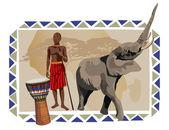 Elefante e uomo africano — Vettoriale Stock