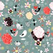 Floral pattern with birds — Stock Vector #10021918