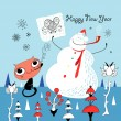 Snowman and Cat — Stock Vector