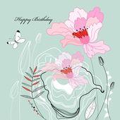 Kartkę z życzeniami z kwiatami — Wektor stockowy