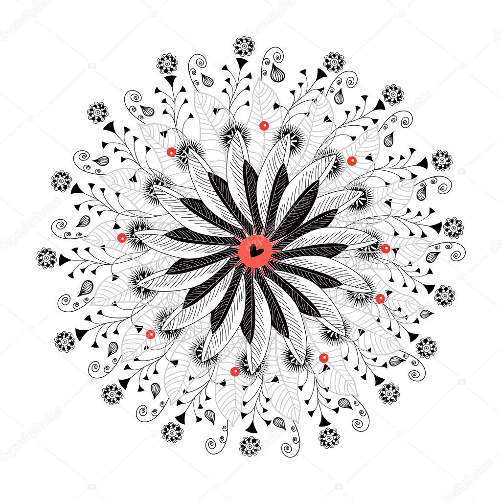 Decorative black flower on a white background — Stock Vector #10474751
