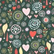 Flower Texture with Hearts — Stock Vector