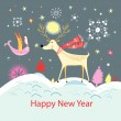 Card with a happy deer and bird — Image vectorielle