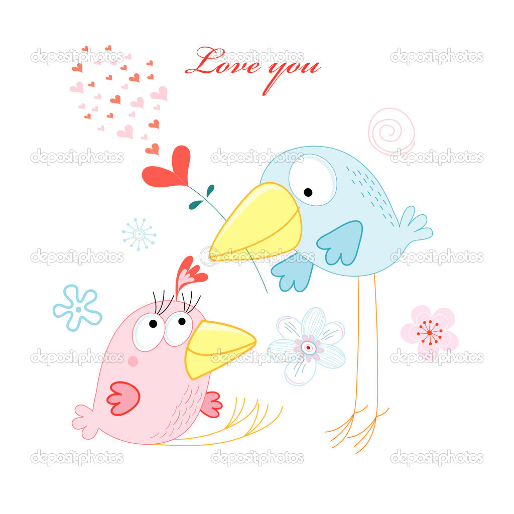 Funny love birds on a white background with hearts and flowers — Stock Vector #8000198