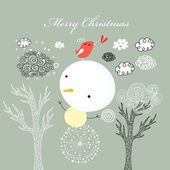 Card with snowman — Stock Vector