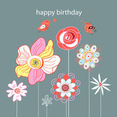 Greeting card Flower — Stock Vector