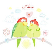 Fun loving parrots — Stock Vector