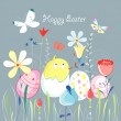 Easter greeting card with a chicken — Imagen vectorial