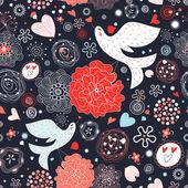 Teste padrão floral com pássaros apaixonados — Vetorial Stock