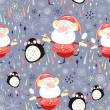 Texture of Santa Clauses and penguins — Stockvektor