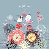 Pássaros do amor para flores ornamentais — Vetorial Stock
