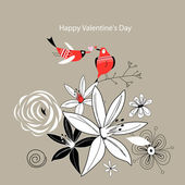 цветок поздравительной открытки — Cтоковый вектор