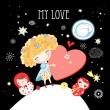 Girl in love — Stock Vector