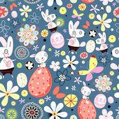 цветочная текстура пасхальные кролики — Cтоковый вектор