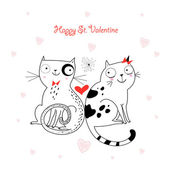 Amo los gatos — Vector de stock