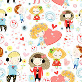 Seamless pattern of children in love — Stock Vector