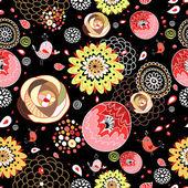 花卉图案与鸟 — 图库矢量图片