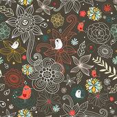 Teste padrão floral com pássaros — Vetorial Stock