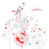 Pájaro de amor en las flores — Vector de stock